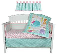 bedding sets belle image sea sweeties pink and blue ocean 5 piece baby girl crib