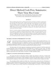 Pdf Direct Method Cash Flow Statements Their Time Has Come