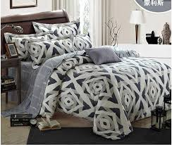 luxury geometric silver bedding set king size queen grey duvet cover western bed in a bag sheets quilt doona bedspreads tencel sanding bed in a bag king