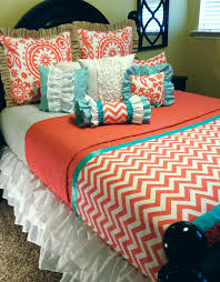 Orange, White, Turquoise, Chevron Ruffles Bedroom