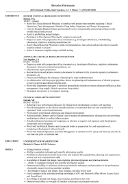Research Resume Sample Clinical Research Scientist Resume Samples Velvet Jobs 15