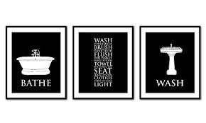 vintage bathroom wall decor. Bathroom Wall Art Trio - Rules Bathe Wash Flush . Vintage Decor A