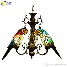 tiffany style stained glass parrot chandeliers 3 heads restaurant pendant lamps tiffany stained glass parrot chandelier for bar bedroom study with