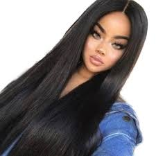 Femmes Longues Perruques De Cheveux Synthétiques Noir Avant