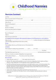 Nanny Contract Example Templates At Allbusinesstemplates