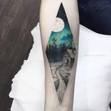 Evgeny Mel ночь лесной домик полная луна умиротворение