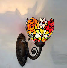 winsome tiffany wall sconces decorative rose pattern stained glass lighting