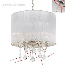details about fifth and main lighting 4 light polished nickel pendant with silver string shade