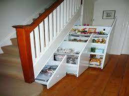 Contemporary White Neat Storage Shelves For Under Stair Completion