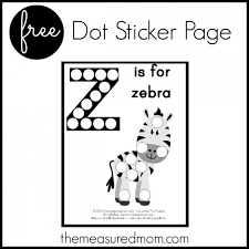 Letter Z Preschool Activity: Z is for Zebra (dot sticker page ...