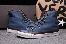 converse zipper high tops. blue converse double zipper chuck taylor all star with leather buckle high tops canvas sneakers, d
