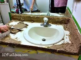 diy concrete counter overlay vanity makeover rh diyfunideas com concrete vanity tops diy wood vanity top