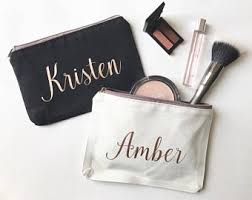 personalized makeup bag bridesmaids gift custom cosmetic bag rose gold gifts for