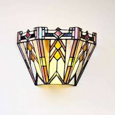 3 watt multi colored mission stained glass integrated led sconce