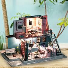 handmade 3d wooden miniatures doll house pink cafe dollhouse furniture diy