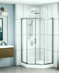 1 4 and 5 32 tempered glass shower door shower height neo angle shape slider two 1 4 sliding frameless panels and two 5 32 fixed panels