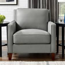 west park light grey leather armchair