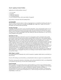 Resume Example Cover Letter For Faculty Position Sample Resume