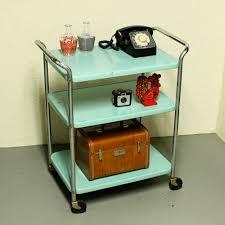 Antique Metal Kitchen Table Vintage Metal Cart Serving Cart Kitchen Cart Cosco Aqua