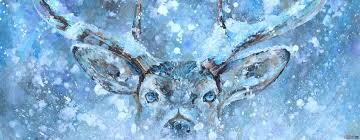 deer in the headlights deer art painting