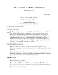 Sample Resume Of Data Entry Clerk Valid Data Entry Job Description