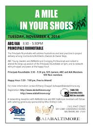 a mile in your shoes aia abc prinls roundtable and happy hour aiabaltimore