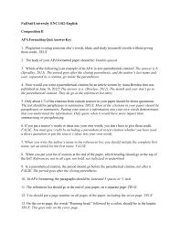 English Composition Ii Apa Formatting Quiz Answer Key 1