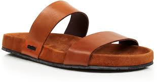 ted baker magnuss leather two strap slide sandals in brown for men lyst