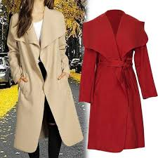 2018 autumn winter coat women wide lapel belt pocket wool blend coat plus size long red