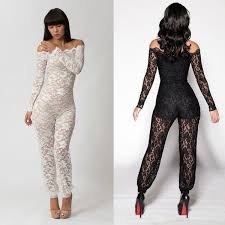 white jumpsuit plus size 2018 sexy lace catsuit black white sexy long sleeve off shoulder