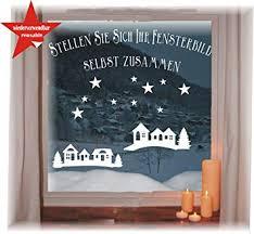 Wiederverwendbares Winterliches Fensterbild Weiß Häuschen