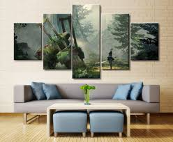 5 panel nier automata 2b game canvas printed  on home decor wall art painting with 5 panel nier automata 2b game canvas printed painting for living