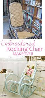 vintage bentwood shabby chic rocking chair gets embroidered makeover by prodigal pieces prodigalpieces com