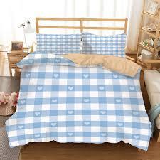 Light Blue Gingham Duvet Cover Amazon Com Checkered Khaki Duvet Cover Set Full Queen Size