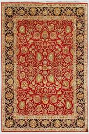 red wool oriental rug and teal yellow hand knotted x cm