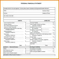 Statement Of Financial Status Financial Statement Form Sample ...