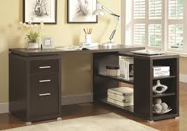 get ations 1perfectchoice yvette l shape office writing study computer desk multi storage drawers shelves color cappuccino