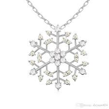 whole snowflake pendant necklaces frozen snow lucky charm jewelry with swarovski crystal valentine gift for lover cat pendant necklace silver
