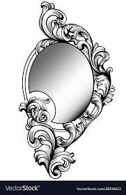 Image Outline Vectorstock Baroque Round Mirror Frame Imperial Decor Vector Image