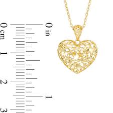 diamond cut fl puffed heart pendant