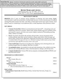 sample photography resumes sample resume for a food service position dummies