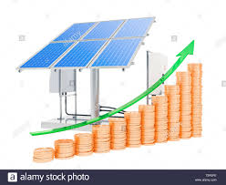 Solar Panel Chart Solar Panels With Growing Chart From Golden Coins 3d