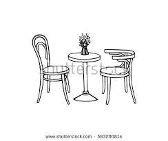 coffee table drawing.  Table Vector Illustration Of Hand Drawn Coffee Table And Vintage Chairs Lovely  Scene Retro Cafe On Coffee Table Drawing