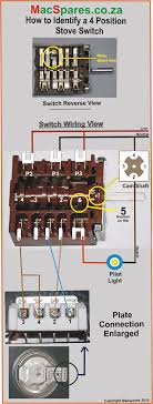 macspares co za  4 position short arm rotary stove switch connected for three heats on the solid stove plates identification and connection wiring diagram
