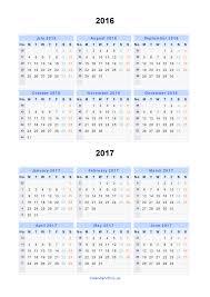 Split Year Calendars 2016 2017 Calendar From July 2016 To