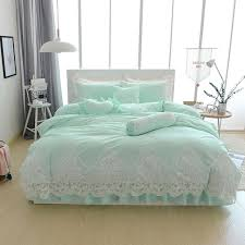 light blue duvet cover twin xl design blue grey cotton lace princess style bedding set