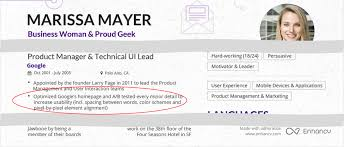 Marissa Mayer Resume Marissa Mayer Resume One Page Resumes Modernhoo Template Fred 13