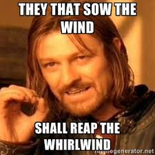They that sow the wind shall reap the whirlwind - one-does-not ... via Relatably.com
