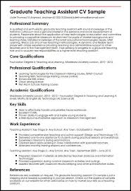 Cv For Teaching Graduate Teaching Assistant Cv Sample Myperfectcv