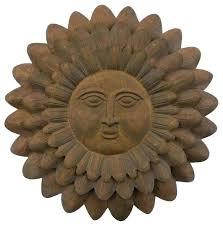 regal sun face wall decor traditional metal art by elegant living outdoor ceramic